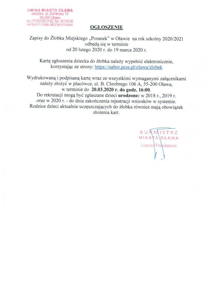2020_Burmistrz_ogłoszenie_nabór